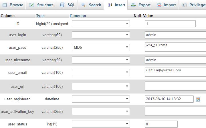 phpMyAdmin ile WordPress Admin Şifresini Sıfırlamak 4